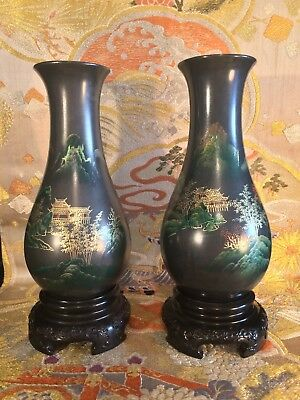 "good pair of antique/vintage Chinese Fuzhou bodiless lacquerware vases.8 1/8""."