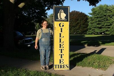 "Large Vintage 1940's Gillette Tires Gas Station 73"" Embossed Metal Sign W/Bear"