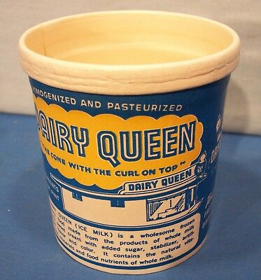 Dairy Queen 1948 One Pint Ice Cream Container ~ THE FIRST D.Q.CONTAINER ~ EVER!