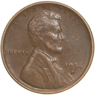 1934 D Lincoln Wheat Cent Extra Fine Penny XF