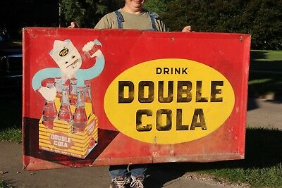 "Rare Large Vintage 1952 Double Cola Soda Pop Gas Station 56"" Embossed Metal Sign"