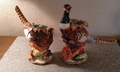 Fitz And Floyd Set of 2 Pheasant Candle Stick Holder Fall Decor Ex CondRetired
