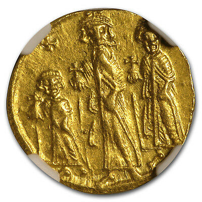 Byzantine Gold Solidus Emp Heraclius,Her,Con. 632-641 AD AU NGC - SKU#173573