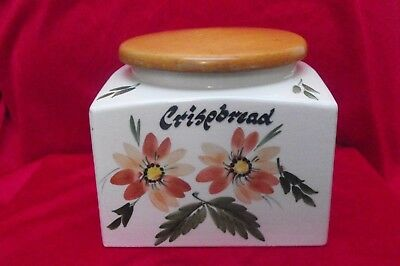 Toni Raymond Pottery ~ Retro Kitsch, Large Square Crispbread Storage Jar 1960's