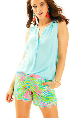 6aca71871b42e8 NWT LILLY PULITZER Bay Blue Pop Pop Glow Buttercup Shorts, Sz 4, $68 ...