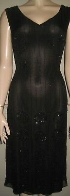 East occasion black semi fitted wiggle with beads and sequins dress size 12