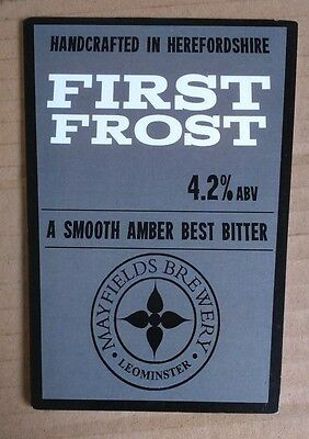 Beer pump badge clip MAYFIELDS brewery FIRST FROST real cask ale pumpclip front