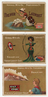 3 Gold Background Soapine Tradecards, Dirt Killer Archery Lady, Washer Woman