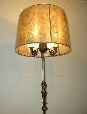 Art Deco Brooklyn Bankers Floor Lamp Restored Iron Steel Nickel Brass Light