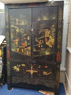 Antique 18th-19th Century Chinese Lacquered Cupboard colourful unique very old!!