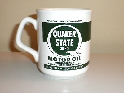 Vintage Quaker State Motor Oil Coffee Mug Made In England