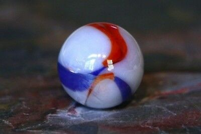 Vintage Marble Super Cool Swirl & Colors Red White & Blue Old Playing Marbles