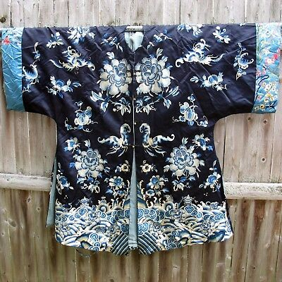 Fine Antique Chinese embroidered silk robe