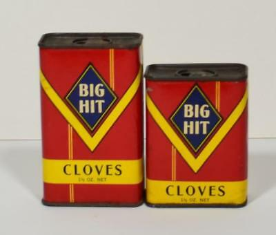 """Lot Of ( 2)  """"big Hit"""" Cloves Spice Tins - Euclid Coffee Co - Ohio"""