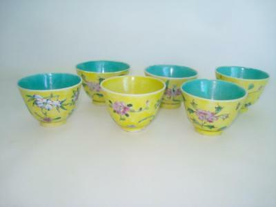 Fine Set 6 Chinese Porcelain Wine Tea Cups Yellow Ground Famille Rose Marked