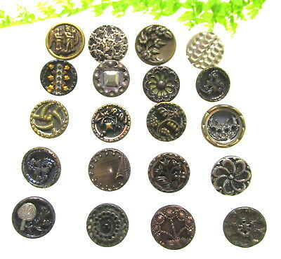 Nice Lot Of 20 Victorian Metal Buttons W/ Different Designs Z118