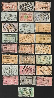 M-48 Belgium lot of 25 stamps with postmarks of trains offices