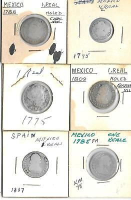 Mexico - 6 Coin Silver Lot - 1 1/2 Real & 5 One Real Coins - See Scans    (V-42)