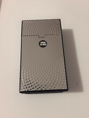 Silver Swirl Metallic Black Plastic Cigarette Case 100's Push Flip Up Top