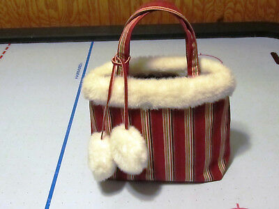 LONGABERGER Holiday Stripe Faux Fur Handbag Purse