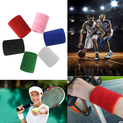 2Pcs Unisex Basketball Sports Cotton Sweat Band Sweatband Wristband Wrist Band #