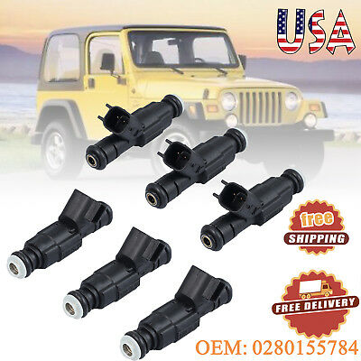 6 pcs Upgrade Fuel Injector 4 Hole High performance For Jeep 4.0L 99-04 Cherokee