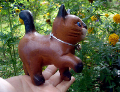 Hand Carved Wooden Cat Figurine Crafted Wood Kitty Kitten walking sanguine loaf