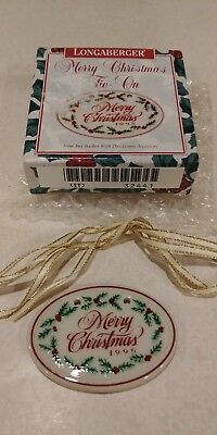 New Longaberger 1995 Merry Christmas Tie-On Trim Your Basket Gift Ornament