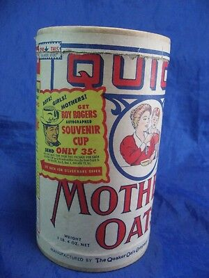 Mother's Oats Can Quick Quaker Rare Roy Rogers Advertisement Vintage