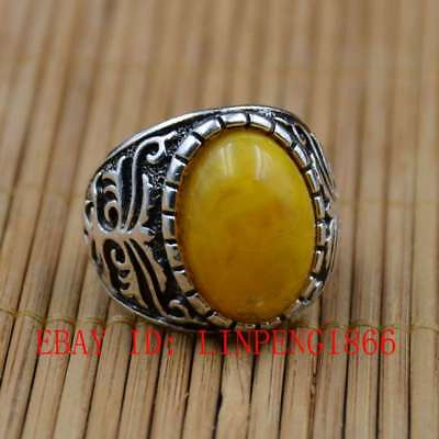 Tibetan Silver Hand-carved Inlaid Amber Beeswax Rings L10