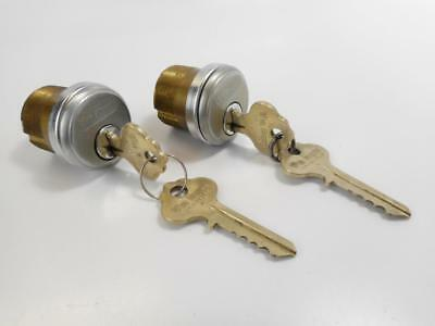 2 Vtg VON DUPRIN Mortise Lock Cylinders & 4 Keys BOTH Locks KEYED ALIKE