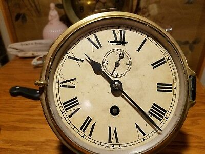 Smiths Astral London 19th Century English ships clock with platform escapement