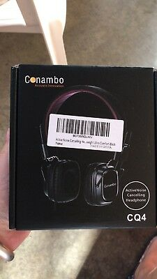 Active Noise Cancelling Headphones w/ Mic and Airplane Adapter, Conambo Foldable
