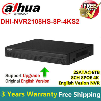 Dahua Updatable 6MP 8CH 8POE 1080P NVR Recorder NVR2108HS-8P-S2 P2P HD H.264