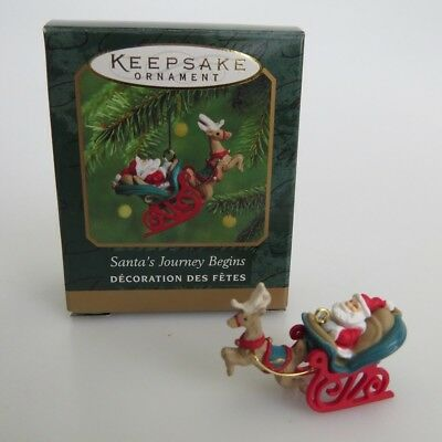 2000 Miniature Hallmark Ornament Santa's Journey Begins Claus Sleigh Mini MINT