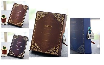 160Pages Vintage Book Journal Diary Sketch-book Notebook with Case and Lock