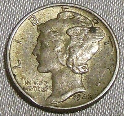 WW2 United States 1942 Mercury Dime US 10 Cents Silver Coin WWII Clip Die Error