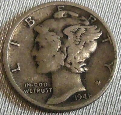 WW2 United States 1941d Mercury Dime US 10 Cents Silver Coin WWII