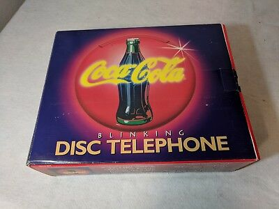Coca Cola Disc Telephone * Neon Lights * Musical Ringer *Vintage * 1995 * NIB