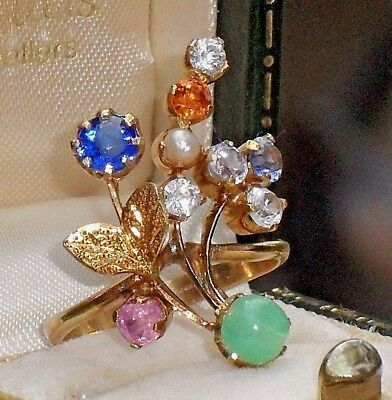 FINE ANTIQUE ART DECO OR NOUVEAU BEAUTIFUL OLD GIARDINETTI 9ct GOLD CLUSTER RING