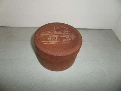 Vintage Set of 8 Wooden Coasters in Wood Box Japanese