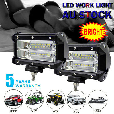 2X 5inch CREE LED Light Bar Spot Flood Beam Offroad Work Driving Fog Reverse 4WD