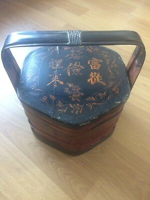 Antique Japanese Lacquered Wooden Storage Box Large Vintage