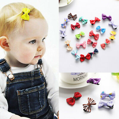 10Pcs Kids Baby Girl's Bow Ribbon Hair Bow Mini Cute Clips Hair Clip Hairpins