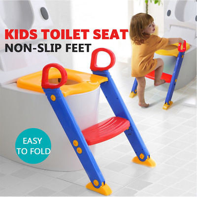 Childrens Toilet Seat & Ladder Toddler Training Step Up For Kids Easy Fold Down