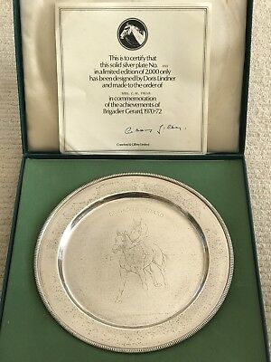 Rare Qe Ii Sterling Silver Brigadier Gerard Horse Racing Plate 1972 With Cert