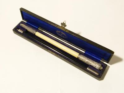 1918 Ebony & Sterling Silver 2 Piece Conductors Baton in Original Box, Granger *