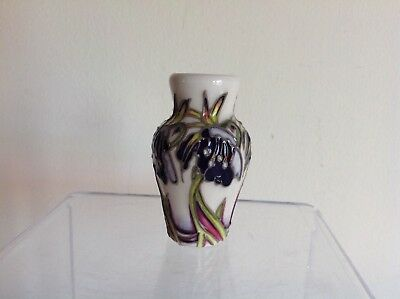 "Moorcroft Pottery Tube Lined Stunning ""Perse"" Pattern Flower Miniature Vase"