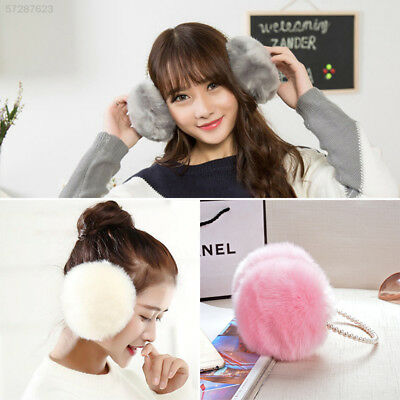 E796 Cute Lovely Winter Warm Soft Rabbit Fur Pearl Earmuffs Solid Ear Cover