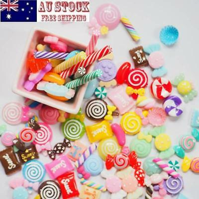 100pcs Assorted Shapes Charms Making Slime Sweets Beads Mixed Candy DIY Crafts